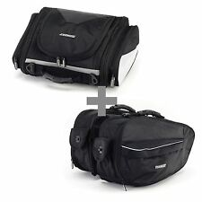 BikeTek Urbano Motorcycle Luggage Touring Tail & Pannier Bag Pack Combo - Black