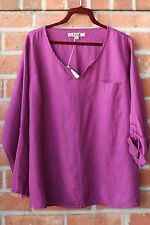 FLAX BOLD 2015 LINEN SPECIAL TEE ROLL TAB SHIRT V PULLOVER GRAPE JUICE VIOLET 3G