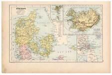 Dänemark-Island-Färöer-Færøerne-Kopenhagen - Landkarte-Map-Lithographie 1889