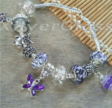 PURPLE WHITE GREY GLASS BEADS & DANGLES FREE SILVER PLATED BRACELET #037