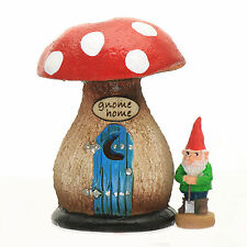 Mini Mushroom Gnome Home and gnome ~ Miniature Fairy Garden ~ by Jennifer
