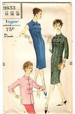 "Vtg 1950s Vogue Sewing Pattern Women's ASIAN STYLE DRESS 9633 Sz 18 B38"" UNCUT"