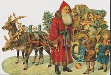 1 Bogen Glanzbilder Scraps Weihnachten Weihnachtsmann Schlitten Bromma Nr.458