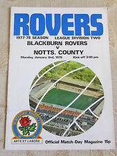 The Official Match Day - Magazine Of Blackburn Rovers & Notts. County 1978