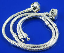 5pcs 925 Silver plated European Charm Bracelet snake chain fit bead 18cm ST01