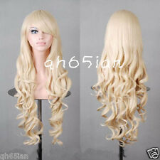 Lolita Women New Long Curly blonde Cosplay Party Hair Full Wigs + free wig cap