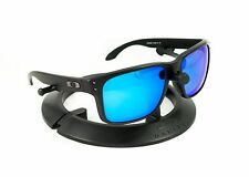 OAKLEY HOLBROOK MATTE BLACK GUNMETAL FRAME W/ REVANT ICE BLUE POLARIZED LENSES