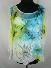 Alfani Women L Yellow Blue Multicolor Floral Stretch Lined Crew Neck Blouse Top