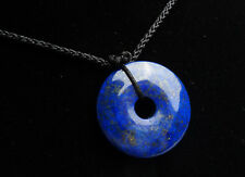 Natural Lapis Lazuli Gemstone Round Bead Pendant Bless You AAA 25x7 mm