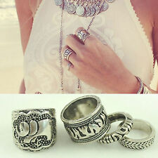 4PCS/Set Elephant Rings Urban Silver Stack Above Knuckle Ring Band Midi Ring