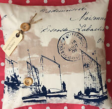 "Nautical ""French Sailing Boats"" quality Stof fabric cushion cover"