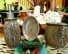 "$125 NWT Elegant ""Beekman Home"" Mosaic Bathroom Accessory 3pcs set"