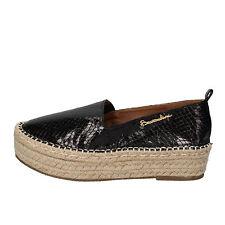 scarpe donna BRACCIALINI 38 mocassini espadrillas nero pelle AE549-D