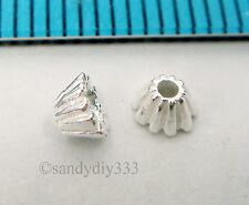50x STERLING SILVER BRIGHT END CAP SHELL CONE SPACER BEAD 3.5mm #541A
