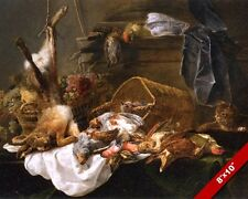 SMALL GAME BIRDS RABBIT HUNTING HUNT MEATS PAINTING FOOD ART REAL CANVAS PRINT