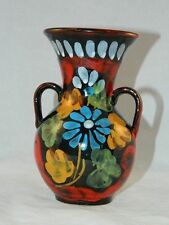 "ITALIAN CERAMIC VASE WITH HANDLES FLORAL PATTERN ON BLACK CERAMIC 6 3/4"" TALL"