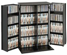 Media Storage Cabinet Adjustable Shelf Locking Doors DVD BluRay CD Game Case