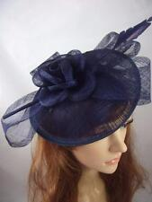 Navy Dark Blue Bow Saucer Sinamay Fascinator - Occasion Wedding Races Hat