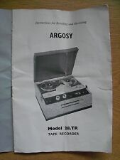 Instructions reel to reel tape recorder ARGOSY Model 28.TR tape player