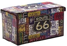 LARGE Folding Ottoman ROUTE 66 Storage Bed Blanket Seat Toy Box Retro American