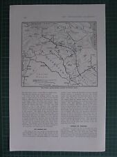 1917 WWI WW1 MAP ~ TURKISH COUNTER ATTACKS TOWARDS RUSSIAN BASES TURKEY BAGDAD