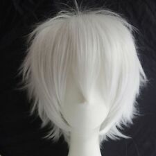 Women/Men Sexy Cosplay Anime Short Wig Synthetic Blue Blonde Silvery Gray Hair #