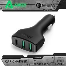 Quick Charge 3.0 AUKEY Car Charger With Type-C + Dual AiPower Ports; For LG G5,