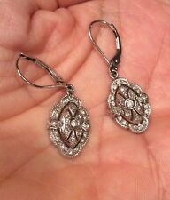 AFFINITY DIAMONDS 14K WHITE GOLD FILIGREE LEVERBACK EARRINGS QVC 3 GRAMS