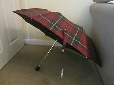 Alexander McQueen Tartan Black Skull Handle Umbrella