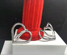 "Sterling Silver 925- GUESS COLLECTION Heart SLING - Italy - 1.4"" - Hoop Earrings"
