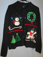 WOMENS UGLY CHRISTMAS SWEATER HOLIDAY CARDIGAN WREATHS SNOWMEN MEDIUM