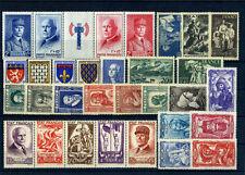 FRANCE ANNEE COMPLETE 1943 AVEC BANDES NEUF ** SANS CHARNIERE COTE 215€ A VOIR
