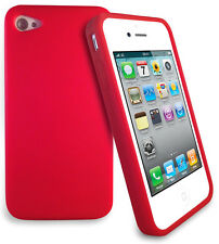 NEW Red Silicone Case Cover Skin with LCD Screen Protector for Apple iPhone 4 4S