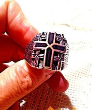 1980's Vintage Silver Stainless Steel Size 13 Men's Black Cross Inlay Ring