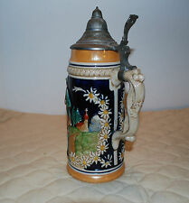"LARGE WESTERN GERMANY 11"" STEIN--""MAN GIVING FLOWERS+2 WOMEN""--ONLY ONE ON EBAY"