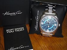 New~KENNETH COLE REACTION MEN'S WATCH~SILVER TONE STAINLESS STEEL~45mm Blue Dial