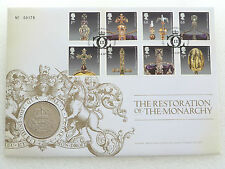 2010 Royal Mint Restoration Monarchy BU £5 Five Pound Coin First Day Cover