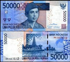 INDONESIA 50000 50,000 RUPIAH 2012/2005 P NEW OMRON CIRCLES UNC