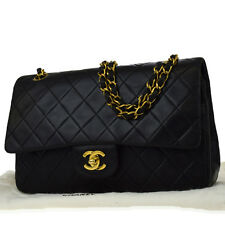 Auth CHANEL CC Matelasse Double Flap Quilted Chain Shoulder Bag Leather 664Z164