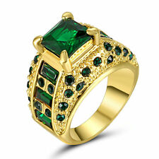Size 7 Green Emerald CZ Engagement Ring 10KT Yellow Gold Filled Wedding Band