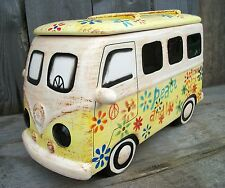 New Large Ceramic Hippie Van Cookie Jar-VW Bus-Vintage Retro Style Kitchen Decor