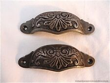 PAIR LARGE VICTORIAN STYLE CUP HANDLE DECORATIVE DRAWER PULL DRESSER HANDLE CH13