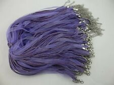 50pcs purple Organza Ribbon Necklace Silk Cord Clasp charms pendant 430 mm