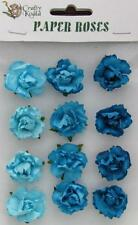 Adhesive Paper Roses Flowers Shades of Blue Perfect for Card Making Scrabbooking