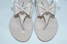 Miu Miu Women's Prada Shoes Beige Sandals Size 8 Bow Flats Strap Leather NIB