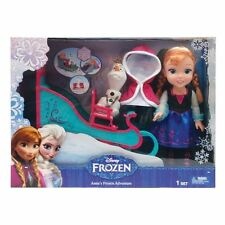 Disney Frozen Toddler Anna Doll With Sleigh/Bed  & Olaf w/Bench New Lot