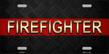 FIREFIGHTER Thin Red Line Metal Novelty License Plate Tag