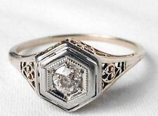 14k Yellow Gold Vintage Art Deco European Diamond Filigree Engagement Ring~sz8.5