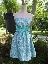 Betsey Johnson Sz 6 Blue Puffy Strapless Party Dress Cocktail Prom Eyelet Floral