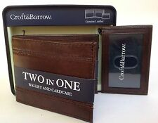 Croft & Barrow Men's Brown Two In One Wallet & I.D Card case New In Box MSRP $30